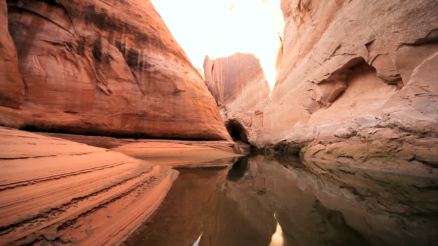 MS CU POV Traveling through lake in red sandstone cliffs / ARIZONA,United States