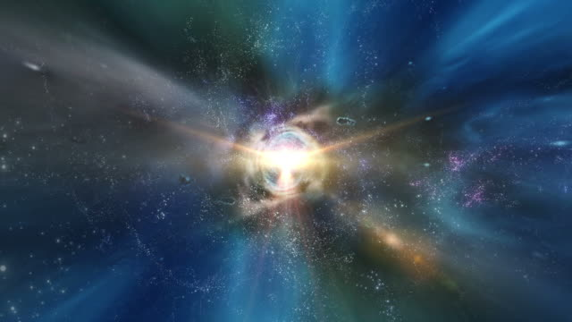 Traveling through star fields in deep space.