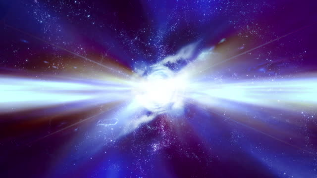 traveling through star fields in space as a supernova bursts light - 超新星点の映像素材/bロール