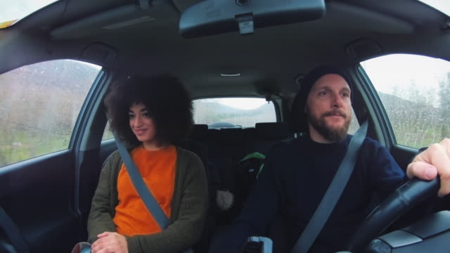 Traveling together: afro hairstyle woman and hipster man