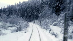 Traveling trough snowy forest by train