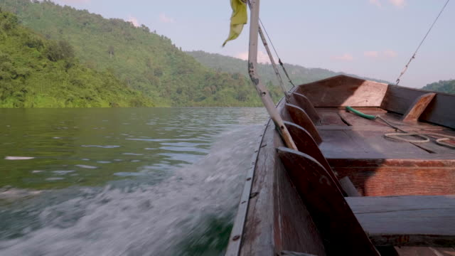 pov : traveling with thai taxi boat - motorboat stock videos & royalty-free footage