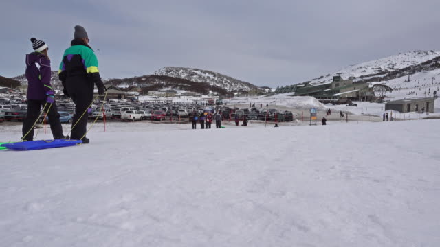 Traveller have funny with snow, Thredbo, Australia