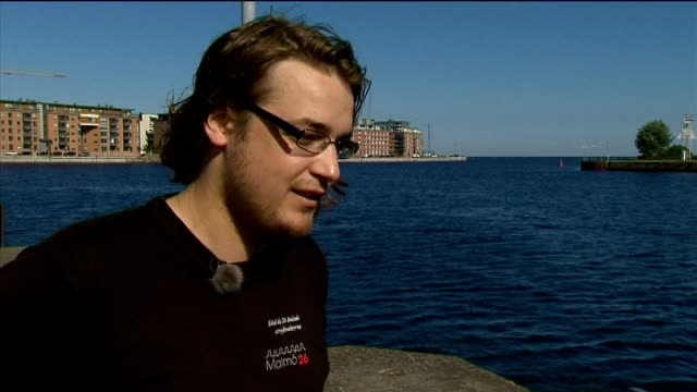 malmo mark ovenden interview sot - regione dell'oresund video stock e b–roll