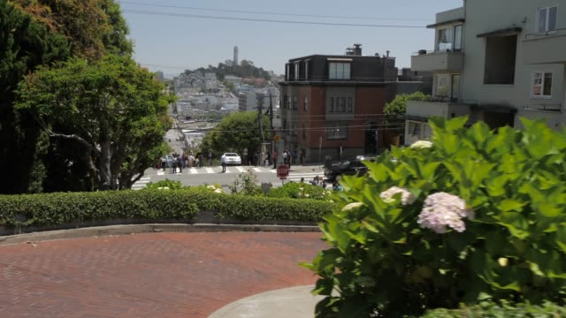 vídeos de stock, filmes e b-roll de travelling down lombard street (crookedest street in the world), san francisco, california, united states of america, north america - lombard street san francisco