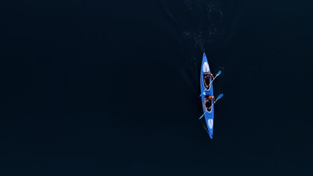 Travelling in kayak. View from above