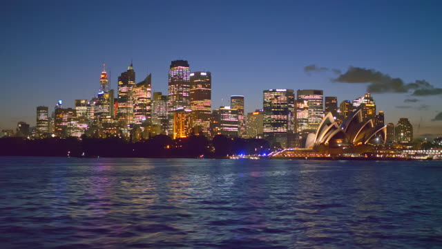 travelling on ferry in sydney at dusk - skyline stock videos & royalty-free footage