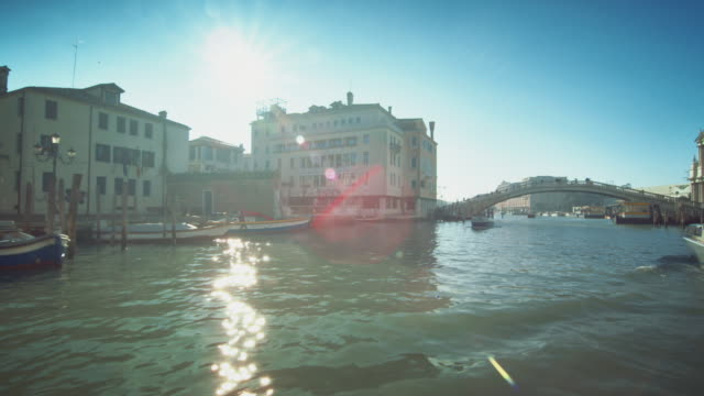 ws - travelling on grand canal near santa lucia railway station - 1 minute or greater stock videos & royalty-free footage