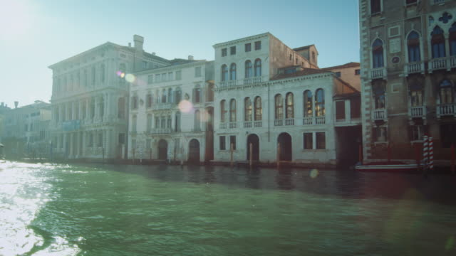 ws - travelling on grand canal palaces - venice italy stock videos and b-roll footage