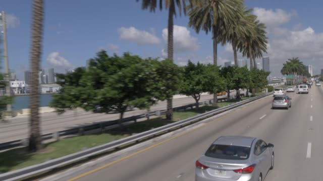 Travelling on MacArthur Causeway toward Downtown Miami, Miami, Florida, United States of America, North America