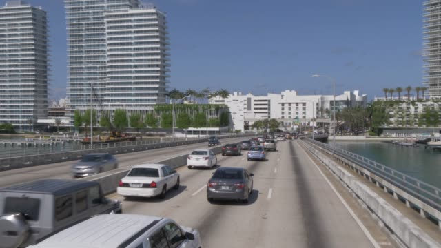Travelling on MacArthur Causeway toward South Beach, Miami, Florida, United States of America, North America