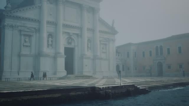 WS - Travelling shot around San Giorgio Maggiore church in the mist