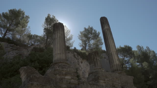 travelling shot of ancient roman city glanum in saint-rémy-de-provence - 6th century bc stock videos and b-roll footage