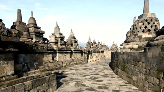 Travelling shot of Borobudur temple's top tier HD Video