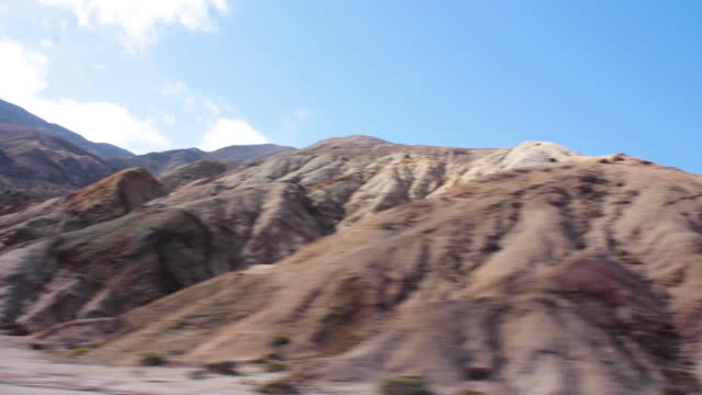 travelling shot of many aspects of sierra vicu–a mackenna. scenic rock formations everywhere. - atacama region stock videos & royalty-free footage