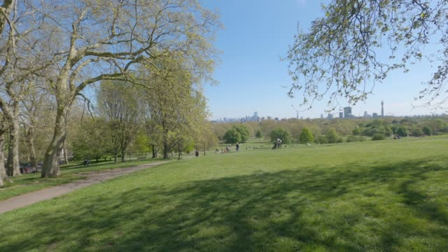 travelling shot of primrose hill park on a sunday afternoon, this fashionable park is located one kilometre north of regents park in the london... - kilometre stock videos & royalty-free footage