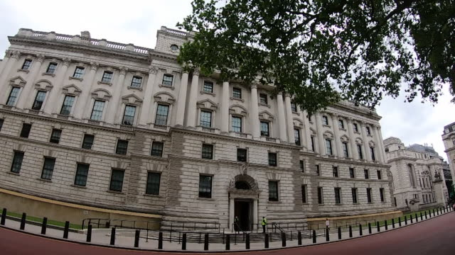 travelling shot past government buildings in whitehall westminster - architecture stock videos & royalty-free footage
