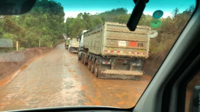 Travelling shot through iron ore mine in Itabirito Brazil
