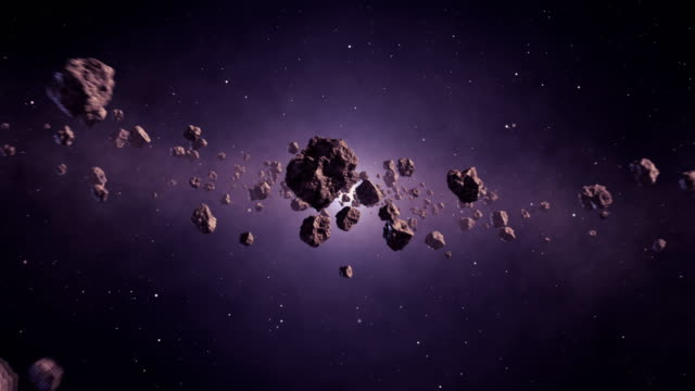 travelling through asteroid belt - meteor crater stock videos & royalty-free footage