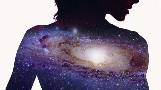 travelling through universe in female body. seductive silhouette with multiple exposure. nasa public domain. - atmosphere filter stock videos & royalty-free footage
