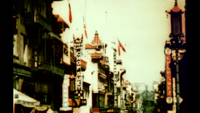 travelogue in twocolor cosmocolor process showing sights of san francisco - chinatown stock videos & royalty-free footage