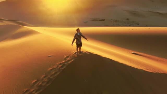 traversing the desert dunes - namibian desert stock videos and b-roll footage