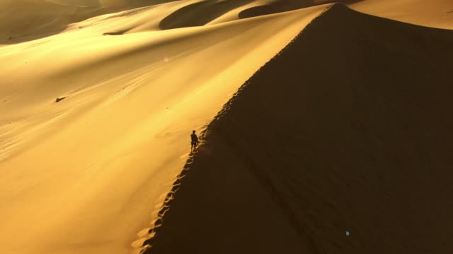 traversing the spine of the dune - namibian desert stock videos and b-roll footage