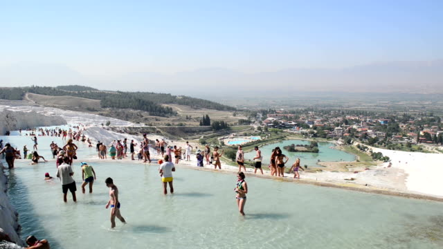 travertine pools in pamukkale - thermal pool stock videos & royalty-free footage