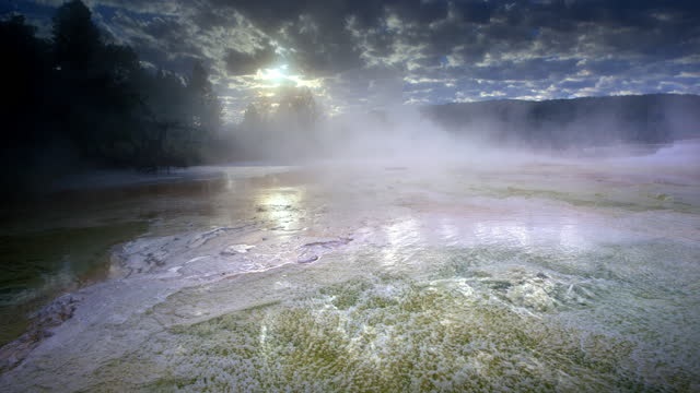 travertine terraces, mammoth hot springs - spring flowing water stock videos & royalty-free footage