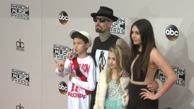 travis barker and atiana de la hoy at 2016 american music awards at microsoft theater on november 20 2016 in los angeles california - 2016 american music awards stock videos and b-roll footage