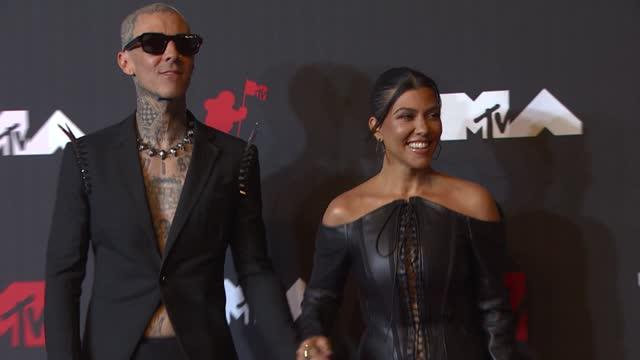 travis barker and kourtney kardashianarrive at the 2021 mtv video music awards at barclays center on september 12, 2021 in the brooklyn borough of... - mtv video music awards stock videos & royalty-free footage