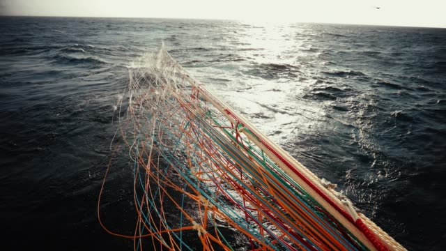 trawl industrial fishing net - fishing net stock videos & royalty-free footage