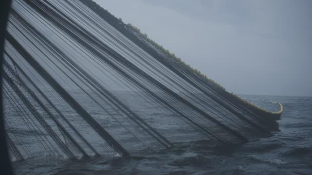 vídeos de stock e filmes b-roll de trawl industrial fishing net - captura de peixe