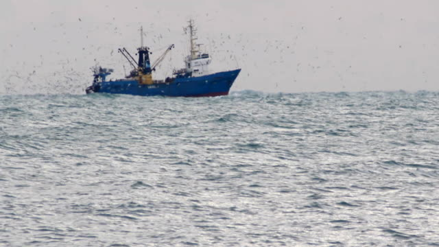 trawler fishing in the haze - fishing stock videos and b-roll footage