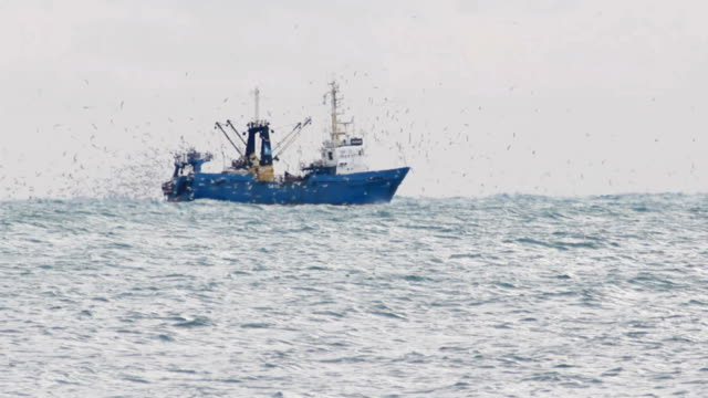 trawler fishing in the haze - trawler stock videos & royalty-free footage