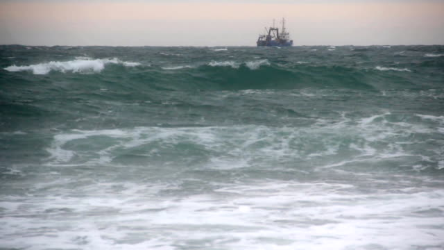 trawler  in a storm - passenger ship stock videos & royalty-free footage