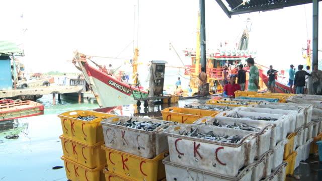 ms trawler moving out of fishing port / kota kinabalu, sabah, malaysia   - kota kinabalu stock videos and b-roll footage