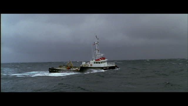 ts trawler rolling and corkscrewing in heavy sea - trawler stock videos & royalty-free footage