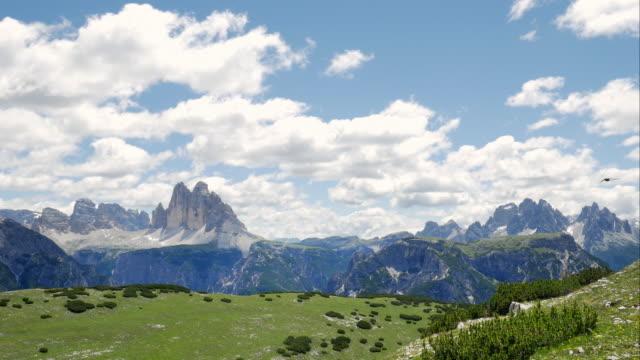 tre cime di lavaredo (drei zinnen) and the cadini di misurina mountains - tre cimo di lavaredo stock videos & royalty-free footage