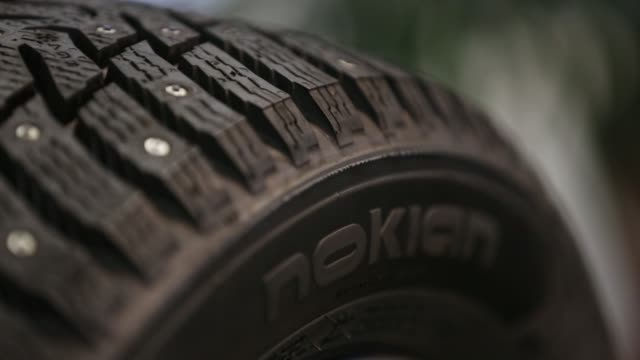 tread detail sits on a finished tyre inside the vsevolozhsk tyre manufacturing plant, operated by nokian renkaat oyj in vsevolozhsk, near st... - close to stock videos & royalty-free footage