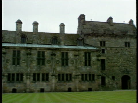 treasure hunt for charles 1st coronation silver; fife: falkland palace ext gv palace l-r int portrait of charles i on wall cms ditto - treasure hunt stock videos & royalty-free footage