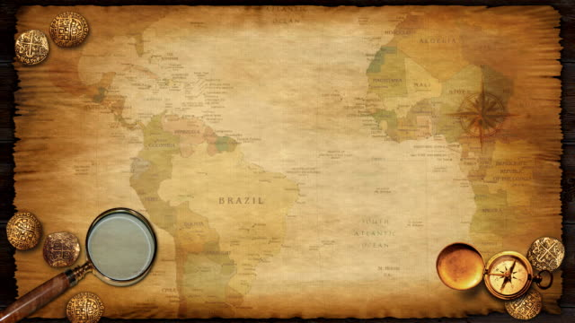 treasure map background loop with continents passing by. - antiquities stock videos & royalty-free footage