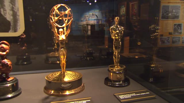 wgn treasures of walt disney archives opens up at chicago museum academy award and emmy in display case at museum of science and industry on october... - academy of motion picture arts and sciences stock videos and b-roll footage
