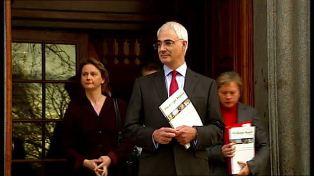 alistair darling mp outside treasury as joined by yvette cooper mp and other members of treasury team for prebudget report photocall - alistair darling stock videos & royalty-free footage