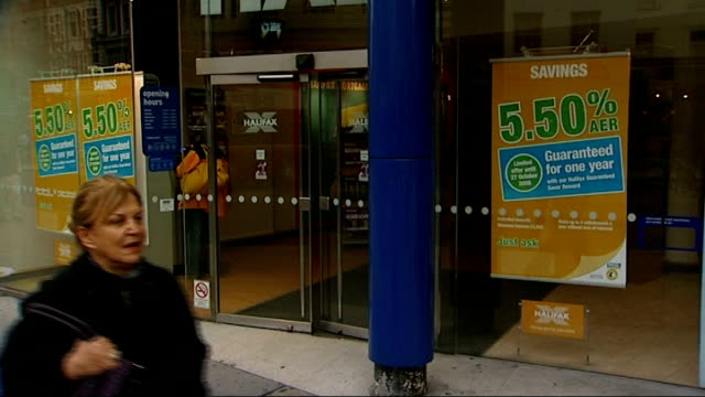 Treasury Committee question Darling King Turner on banking bailout Date Locations Unknown EXT Exterior of Halifax bank branch Close Shot of 'Halifax'...