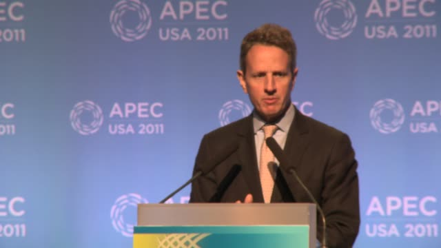 us treasury secretary timothy geithner comments on european debt crisis china's currency yuan / renminbi at apec 2011 us treasury secretary timothy... - finanzministerium stock-videos und b-roll-filmmaterial