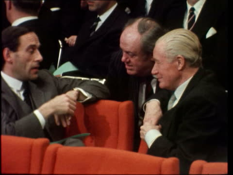 brussles egmont palace d tbv harold macmillan former pm of britain greets people jeremy thorpe british liberal leader follows tms lord george brown... - 付着点の映像素材/bロール
