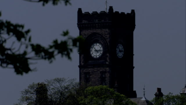 a tree branch shakes in front of the clock tower of high royds former psychiatric hospital. available in hd. - psychiatric hospital stock videos & royalty-free footage