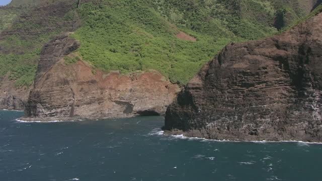 vídeos de stock e filmes b-roll de aerial tree covered mountains sloping down to the pacific ocean / hawaii, united states - rasto de movimento