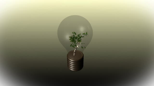 cgi, tree growing in light bulb - energy efficient lightbulb stock videos and b-roll footage